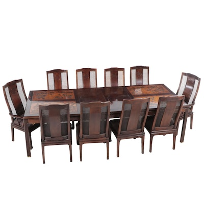 Berhardt Furniture Chinese Style Walnut-Finish Extension Dining Table and Chairs