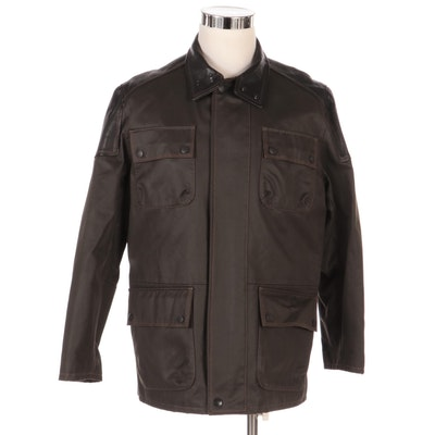 Men's Remy Waxed Cotton Field Jacket with Leather Trim, New with Merchant Tag
