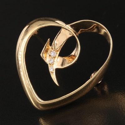 1983 Paloma Picasso for Tiffany & Co. 18K Diamond Open Heart Brooch 1