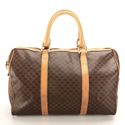 Celine Small Duffel Bag in Macadam Canvas with Leather Trim