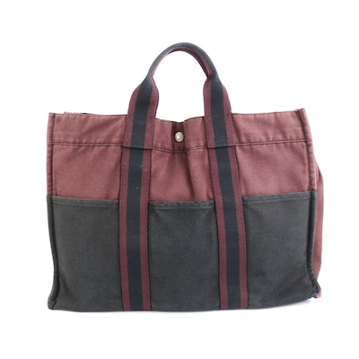 Hermès Fourre Tout GM Tote Bag in Burgundy and Black Cotton Canvas
