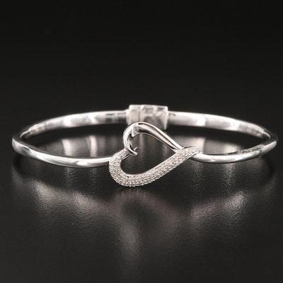 Sterling Silver Diamond Heart Hinged Bangle
