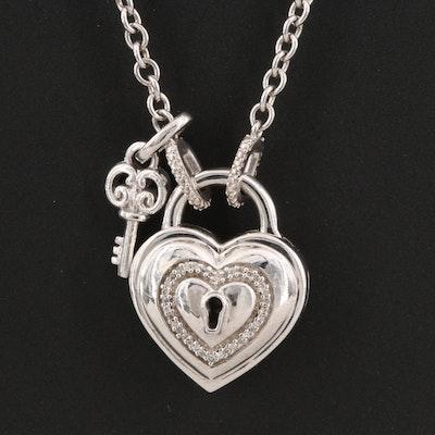Sterling Silver Diamond Heart Padlock Pendant Necklace