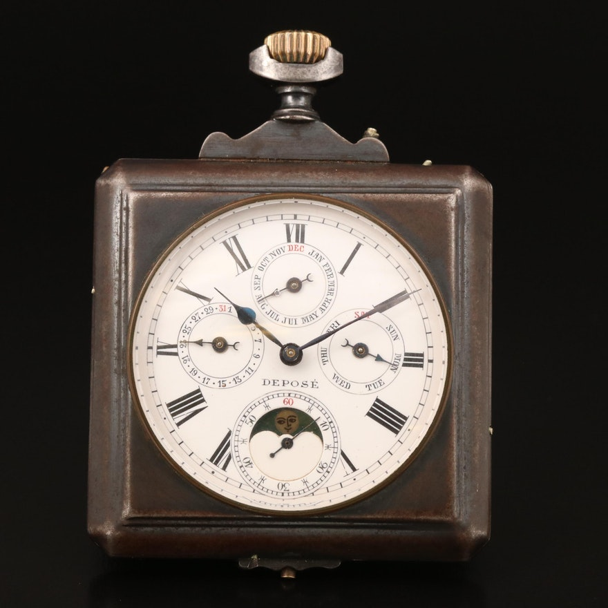 Antique Swiss Gunmetal Moon Phase Calendar Pocket Watch