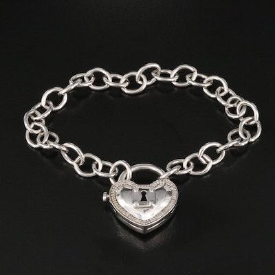 Sterling Silver Diamond Heart Padlock Charm Bracelet