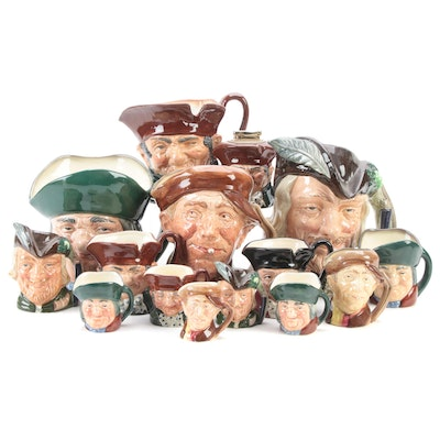 """Royal Doulton """"Old Charley"""" and Other Character Jugs and Miniature Jugs"""
