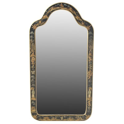 Chinoiserie Style Lacquerware Framed Wall Mirror, Late 20th Century