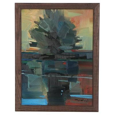"Jose Trujillo Oil Painting ""Lake Sunset,"" 2021"