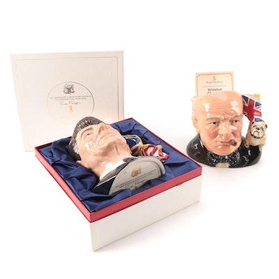 "Royal Doulton ""Ronald Reagan"" and ""Winston Churchill"" Ceramic Character Jugs"