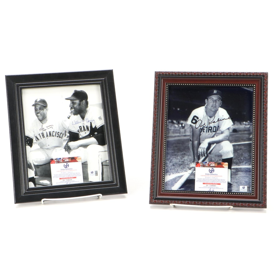 Willie Mays and Willie McCovey Signed Photo with Al Kaline Signed Photo, COA