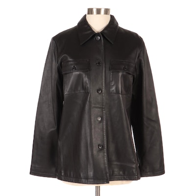 Leather Button-Front Jacket with Flap Patch Pockets by New Frontier