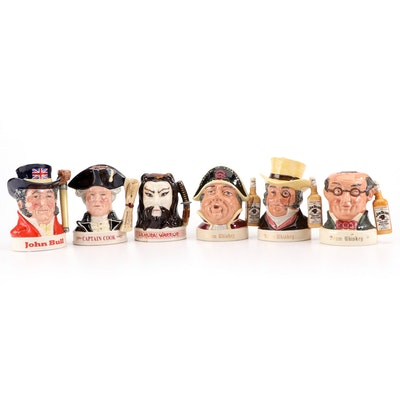 Royal Doulton Jim Beam Ceramic Character Jug Decanters, Mid to Late 20th C.