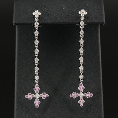 Carl Blackburn 18K Diamond and Pink Sapphire Maltese Cross Drop Earrings