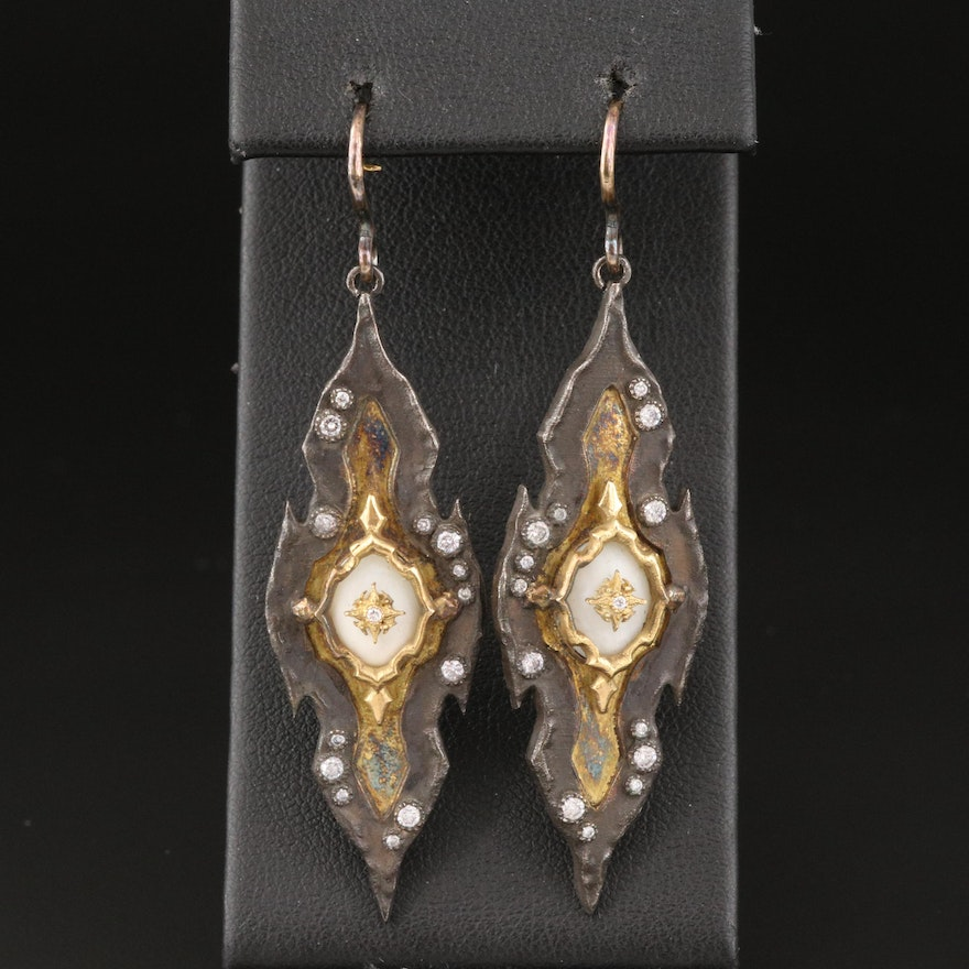 Sterling Coral and Diamond Drop Earrings with 14K Accents