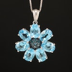 Sterling Swiss Blue Topaz and Diamond Necklace