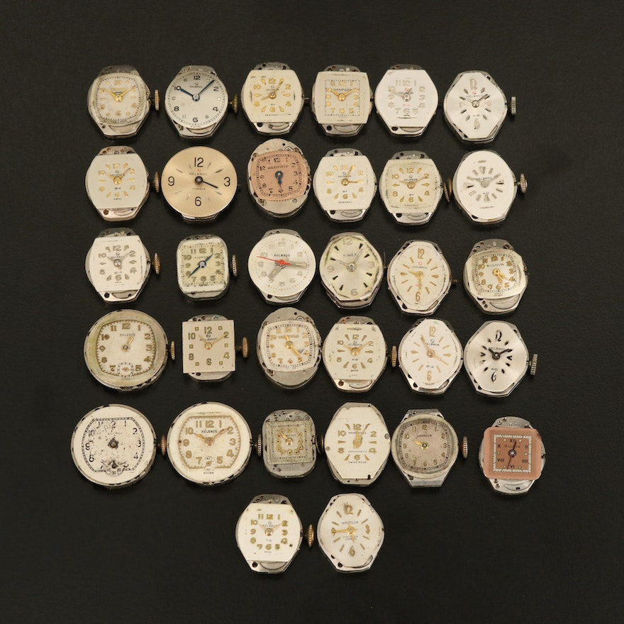 Thirty-Two Various Stem Wind Wristwatch Movements