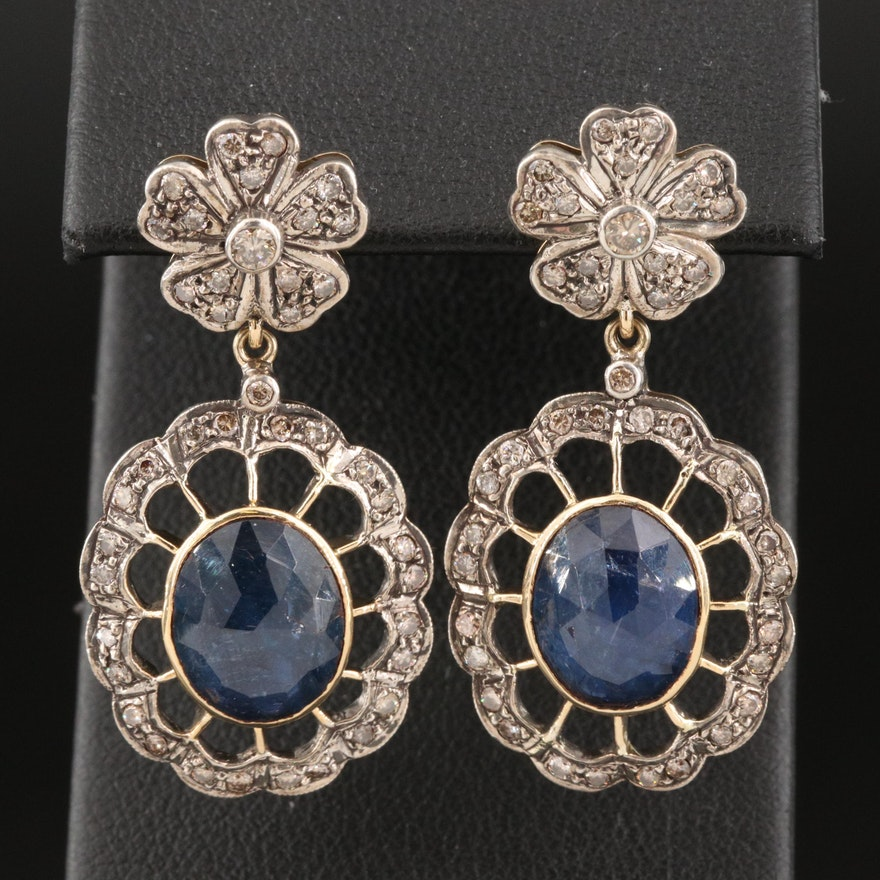 Sterling Silver and 14K Sapphire and Diamond Openwork Drop Earrings