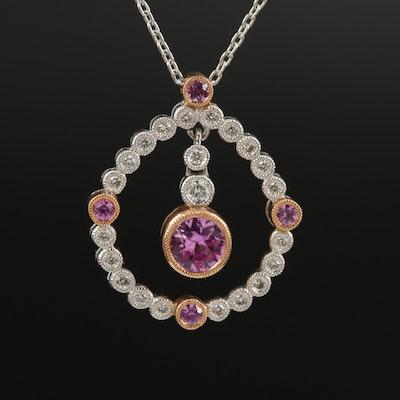 Carl Blackburn 18K Pink Sapphire and Diamond Pendant Necklace