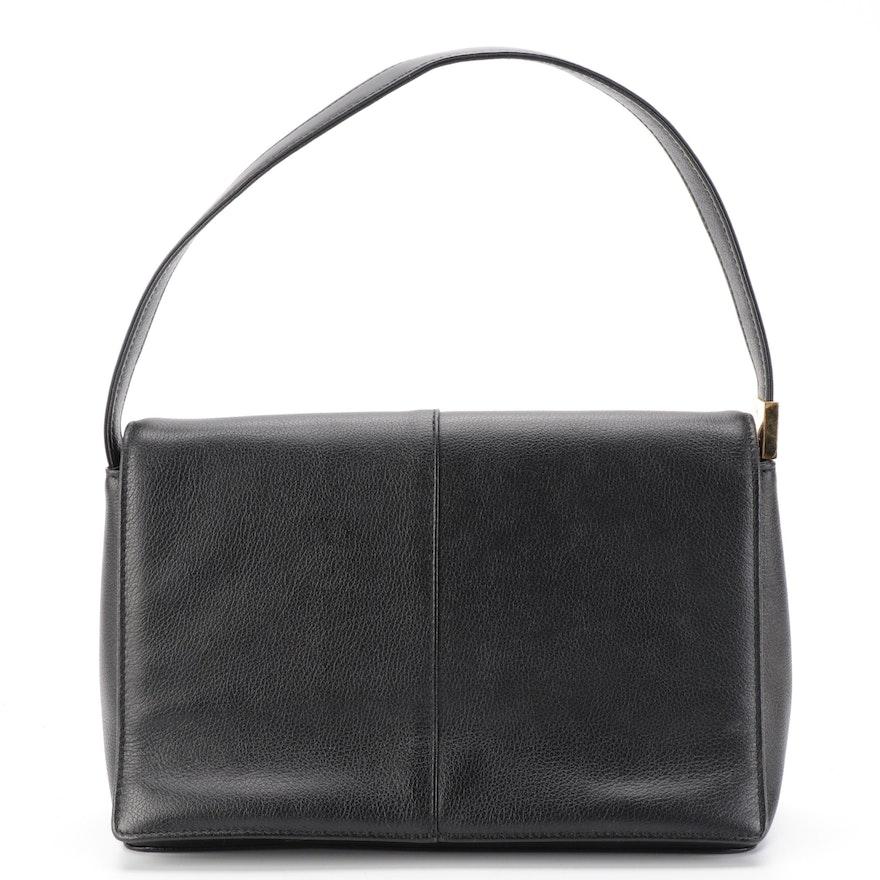Burberry Black Grained Leather Front Flap Shoulder Bag