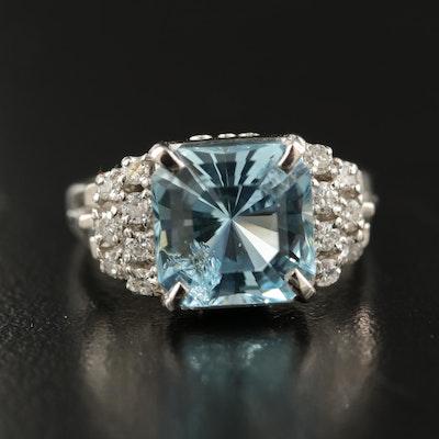 Platinum 4.21 CT Aquamarine and Diamond Ring