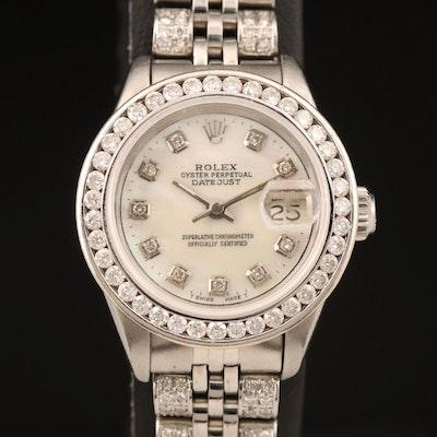 1982 Rolex Datejust MOP 2.10 CTW Diamond Dial, Bezel and Band Wristwatch