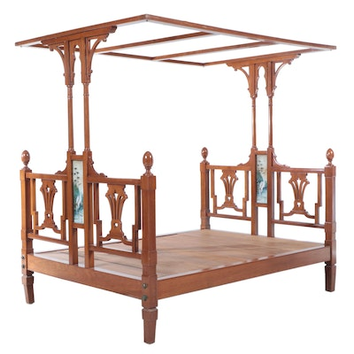 Victorian Style Teak Canopy Bed, 20th Century