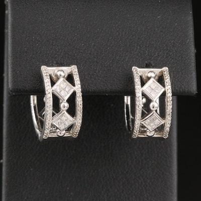 Sterling Diamond Huggie Earrings