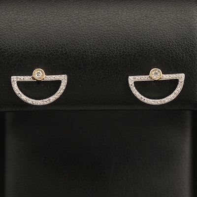 Sterling Diamond Half-Circle Earrings with 10K Accents
