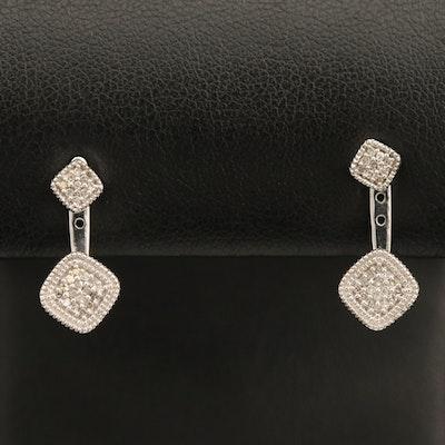 Sterling Pavé Diamond Stud Earrings with Adjustable Jackets
