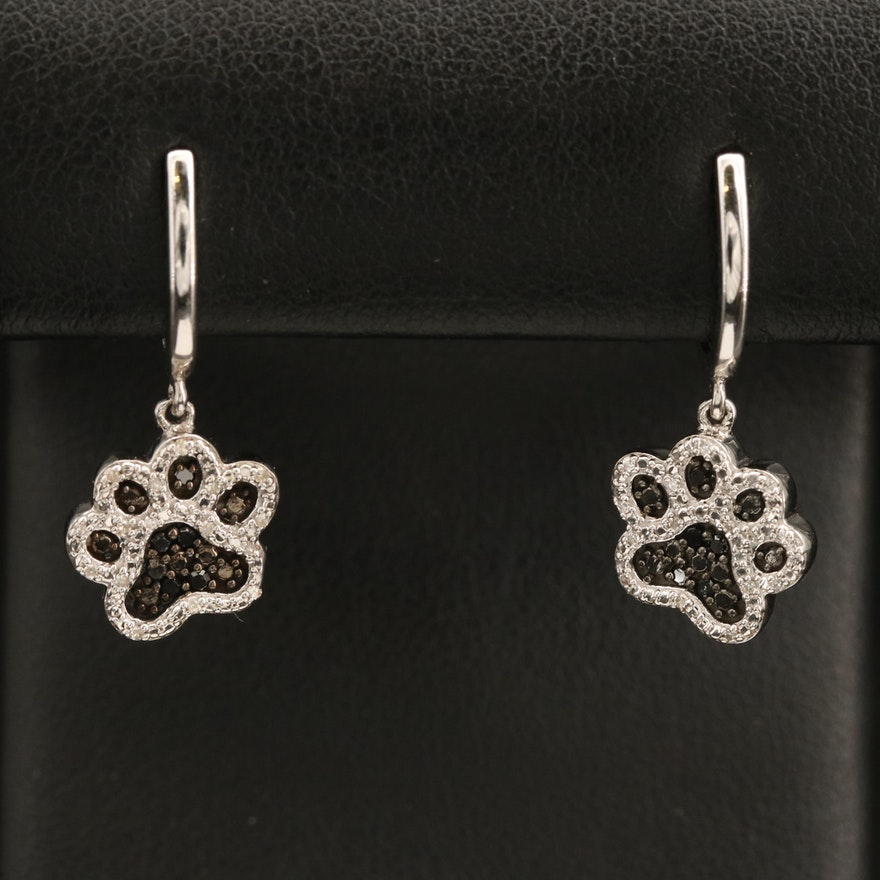 Sterling Pavé Diamond Paw Drop Earrings