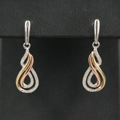 Sterling Diamond Infinity Drop Earrings with 10K Two-Tone Accents