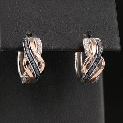 Sterling Silver Diamond Huggie Hoop Earrings with 10K Accent