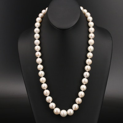 12.26 MM - 15.24 MM Semi-Baroque Pearl Necklace with 18K Clasp