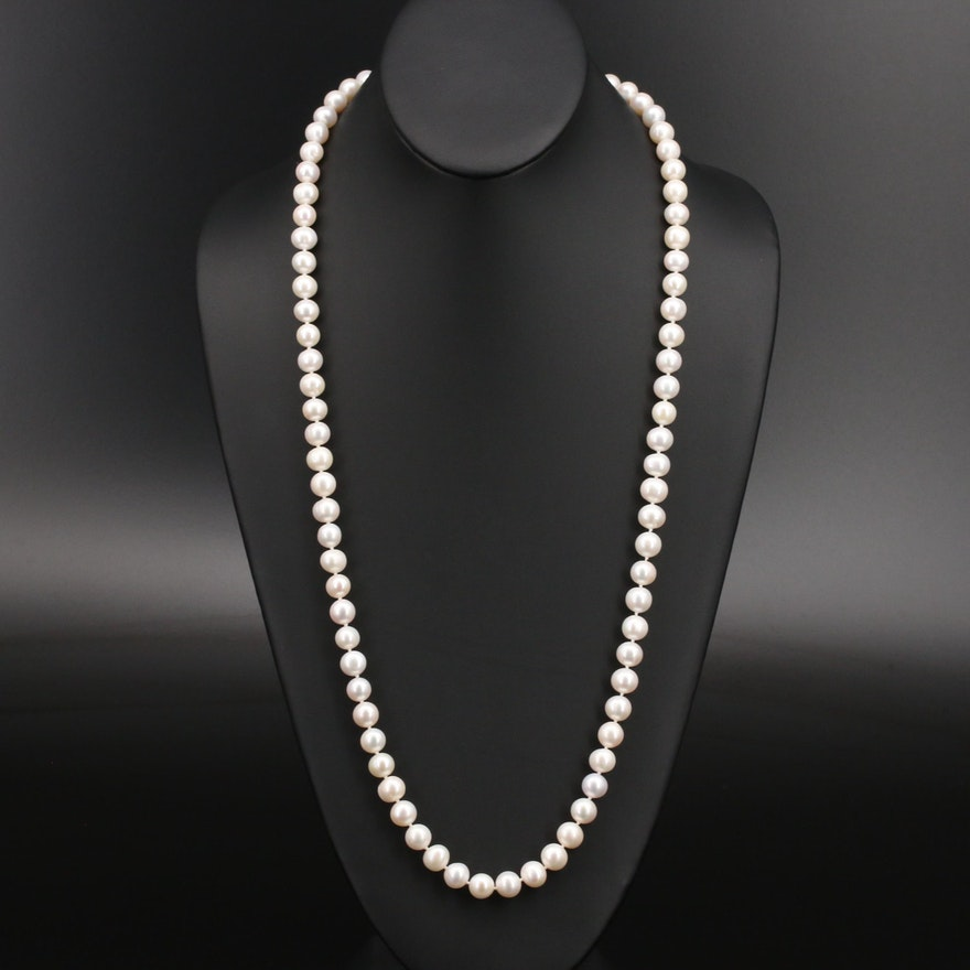 Semi-Baroque Pearl Matinee Length Necklace with 14K Clasp