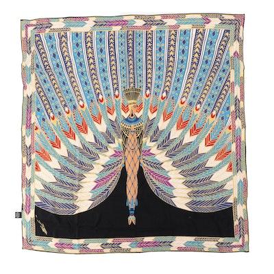 """Erté """"The Nile"""" Egyptian Goddess Themed Silk Scarf"""