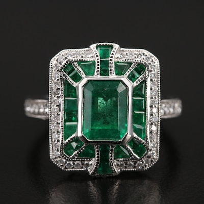 Platinum Emerald and Diamond Ring with 1.57 CT Center