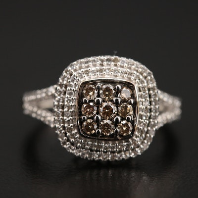 Sterling Diamond Double Halo Ring