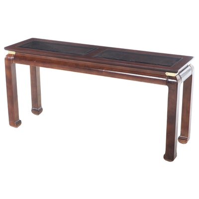 Chinese-Inspired Glass Top Console Table, Late 20th Century