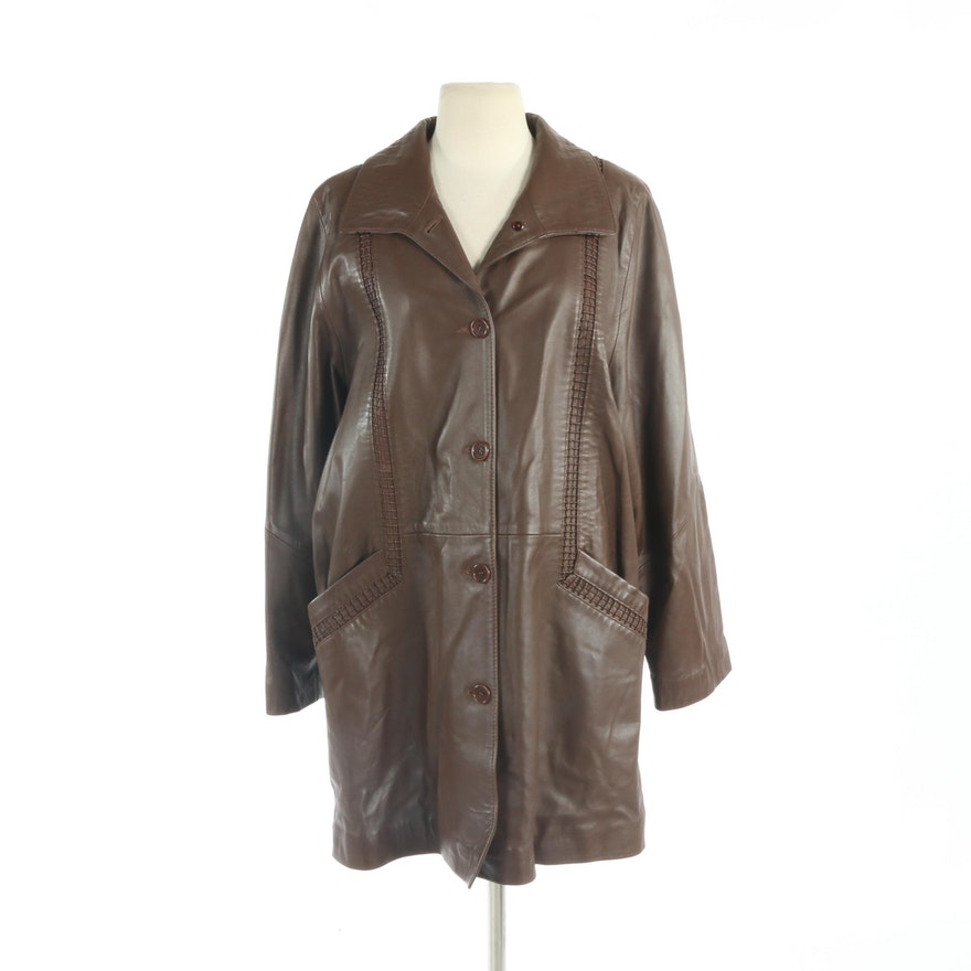 Brown Leather Coat with Lattice Style Detailing, New with Merchant Tag
