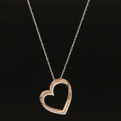 Sterling Diamond Heart Necklace with 10K Rose Gold Accent