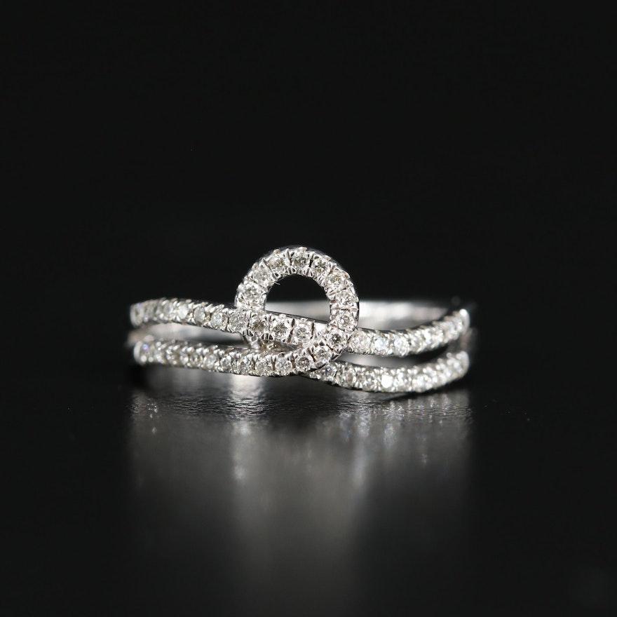 Sterling Silver Diamond Wavy Loop Ring