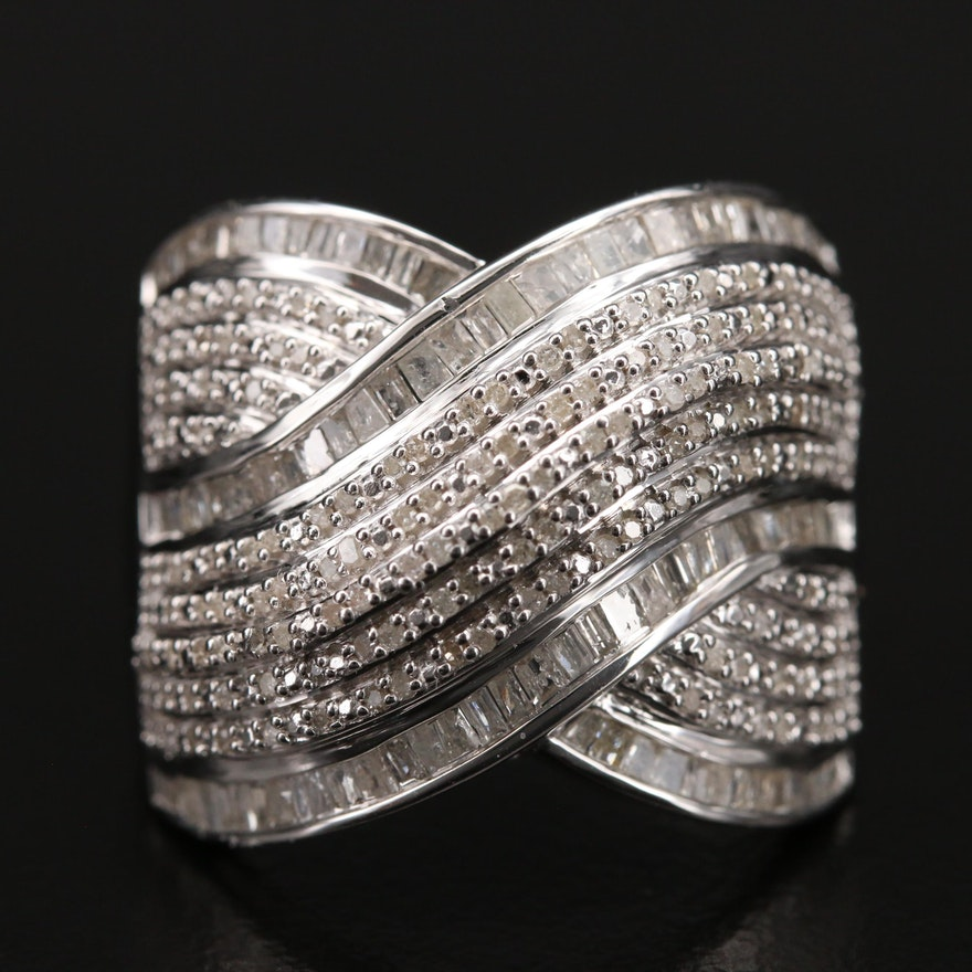 Sterling 1.00 CTW Diamond Crossover Ring