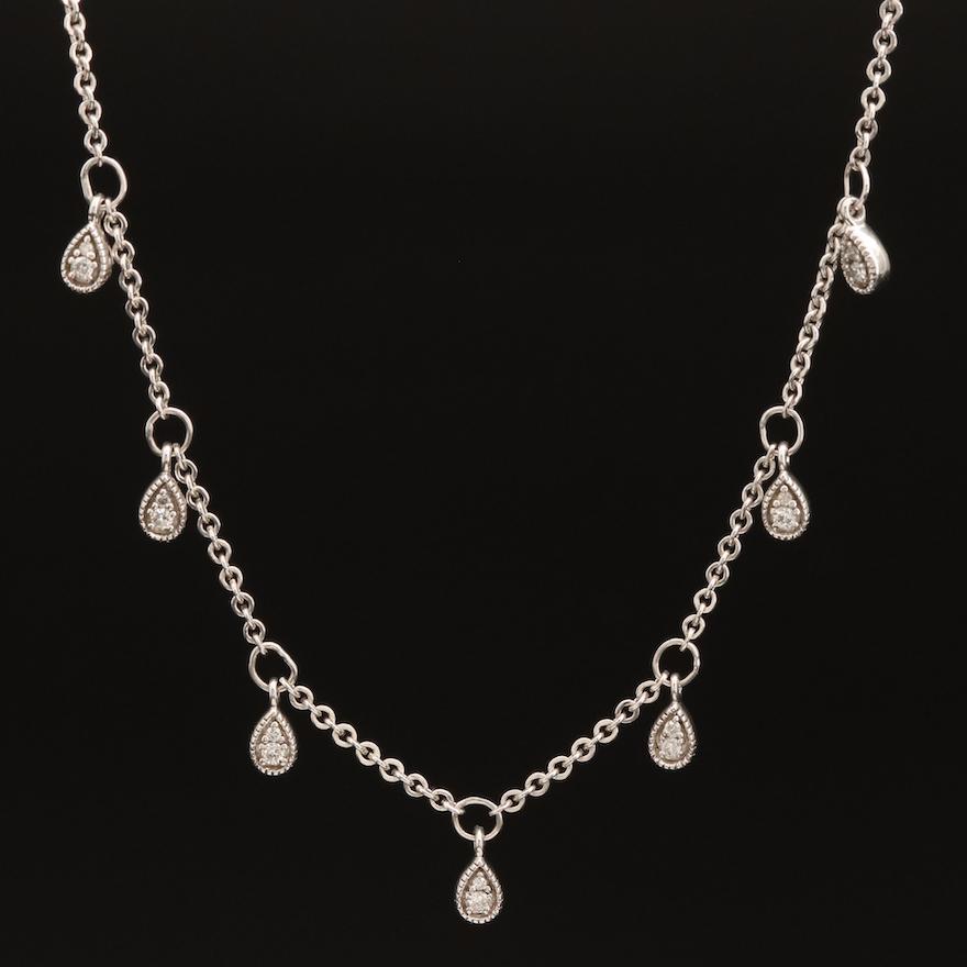 Sterling Diamond Station Necklace