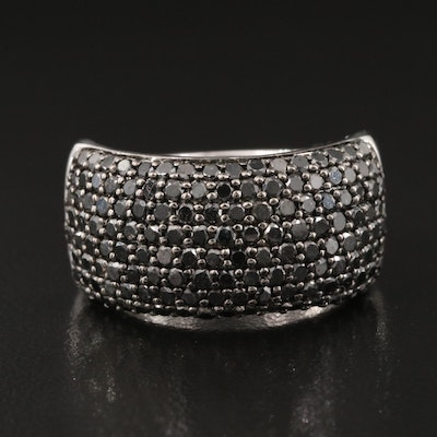 Sterling Silver 2.05 CTW Pavé Diamond Tapered Band