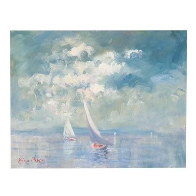 """Nino Pippa Oil Painting """"Normandy - Sailboats off the Coast of Dieppe"""""""