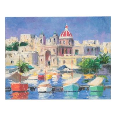 "Nino Pippa Oil Painting ""Malta - Fishing Village,"" 1996"