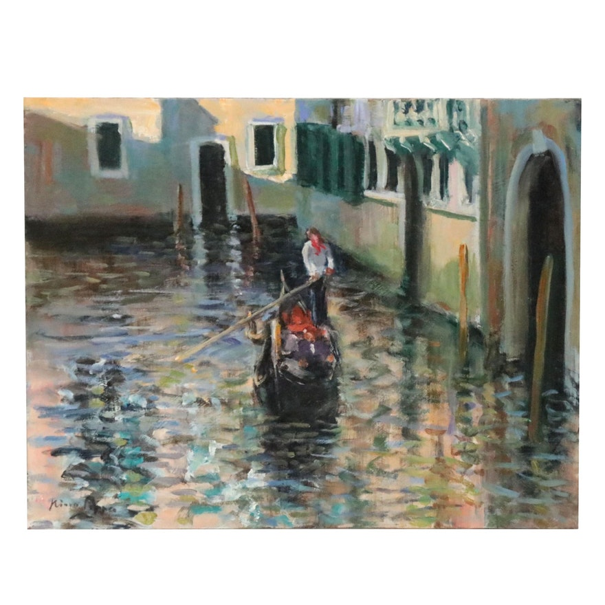 """Nino Pippa Oil Painting """"Venice - Side Canal,"""" 2016"""