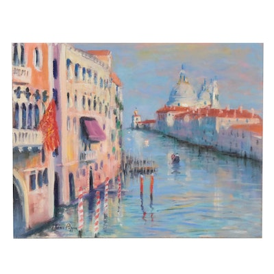 """Nino Pippa Oil Painting """"Venice - The Grand Canal at La Salute,"""" 2017"""