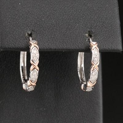 Sterling Diamond Hoop Earrings with 10K Accents