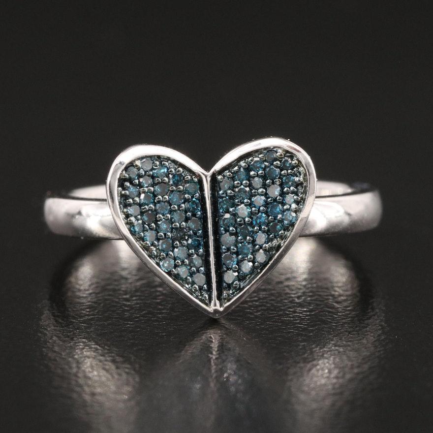 Hallmark Sterling Pavé Diamond Heart Ring